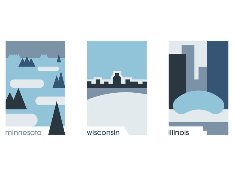 Minimalist U.S. States - Great White North great white north illinois wisconsin minnesota minimalist design 5-color design minimalism art illustration design color adobe illustrator
