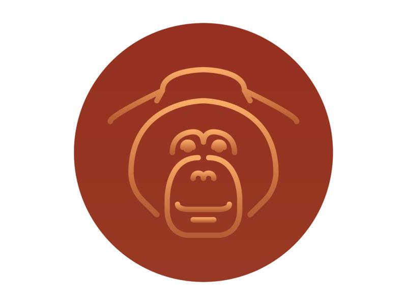 Orangutan Icon asia design illustration animal illustration vector adobe illustrator seven continents continents gradient color animal icons asian animals animals grid series animal icon orangutan