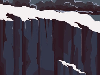 Steady 2 wave cliff ship sailor storm sea flat vector illustration