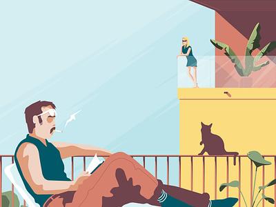 Quarantine crush stay balcony city vector illustration characters romance architecture crush love home virus covid quarantine
