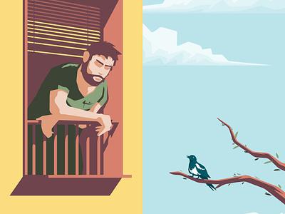 Quarantine friend balcony bird quarantine virus sky building man character flat vector illustration