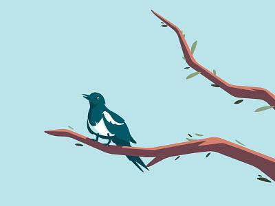 Quarantine friend bird flat vector illustration