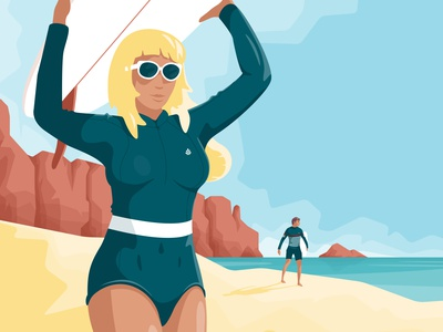 Endless summer girl sea flat vector illustration character beach surf