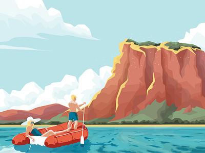 Charon graphic island summer boat lagoon landscape sea flat vector illustration