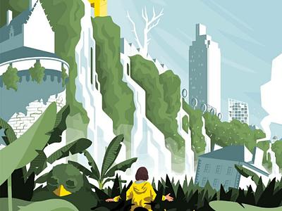 Nantes en plantes waterfall landscape jungle plants city illustration