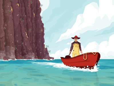 Lone rider lagoon boat fisherman character sea flat vector illustration