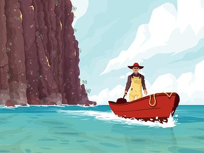 Lone rider lagoon boat fisherman character sea flat vector illustration