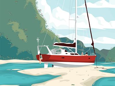 Standby boat beach river sea sail vector illustration flat