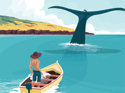Elusive fisherman island flat illustration boat sea whale