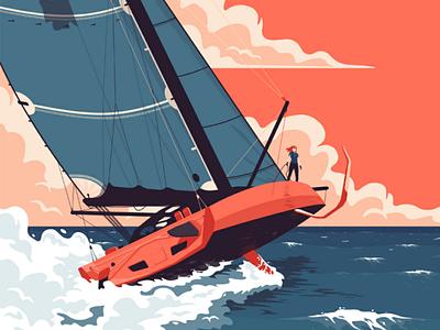 J+06 - Açores race ocean sailing sail sea illustration
