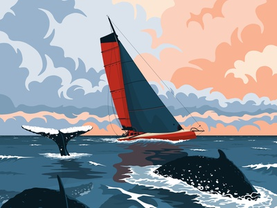 J+22 Cap de Bonne Espérance whale imoca cloud sunset sail boat sailing sea flat vector illustration
