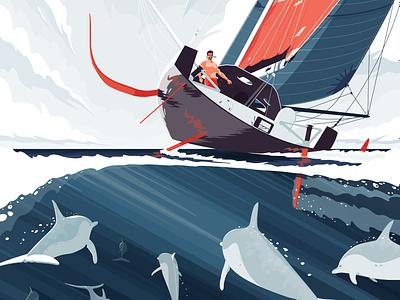 J+65 Rio de Janeiro sailing sea sail boat dolphin illustration flat vector ocean water