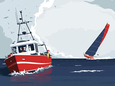 J+79 Golfe de Gascogne ocean gull bird fisher fishing sailing sail boat sea vector flat illustration