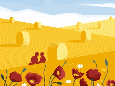 She said yes poppies couple romance love wheat flowers field