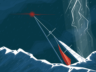 It's gonna be alright rain storm boat sail sea illustration