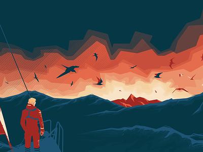 Morning surprise sail clouds birds island sailor sailing landscape sea flat vector illustration