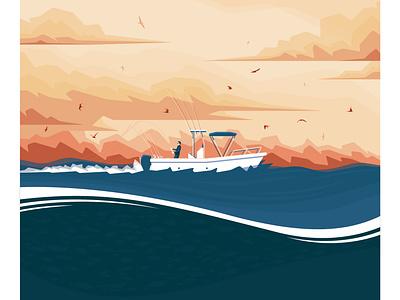 Sunrise fishing fishing rod ski birdsday boat sunset birds fishing sea graphic flat vector illustration