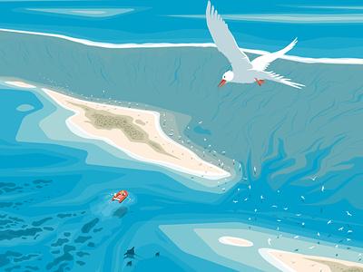 Alone in the crowd island bird lagoon landscape sea flat vector illustration