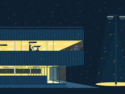 Night shift rain architecture light night building flat vector illustration