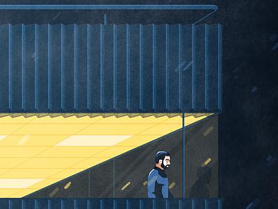 Night shift - Extract 1 light rain night building architecture flat vector illustration
