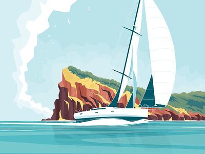 Code zero clouds island sailing landscape sea flat vector illustration