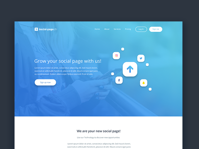 Home page design for Social Media Agency home page agency media social simple ux ui design website