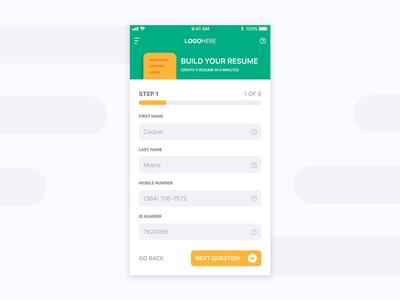 Resume Builder App field input form document questions cv builder resume design app ux ui