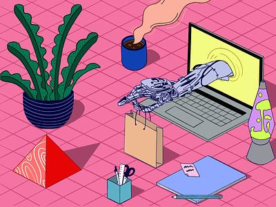 Online sale – Illustration service digital online robot hand seller product buy sell illustration shop e commerce design