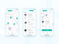 Courier App delivery map clean app design concept ui