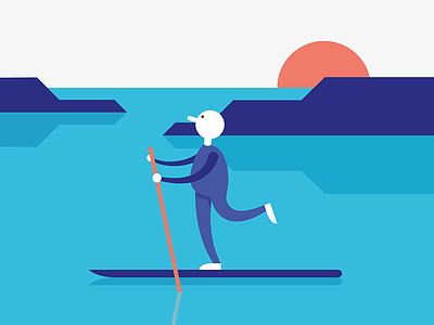 Paddleboarding 🏞 blue mountains lake paddleboarding character design illustration