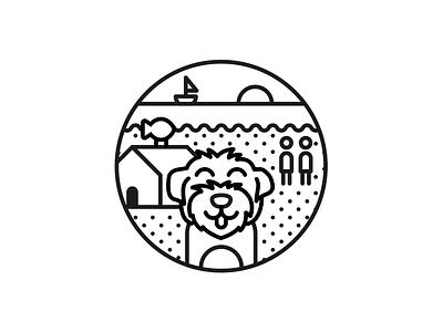 Doggo 🐶 circle coast sea dog black and white line character design illustration