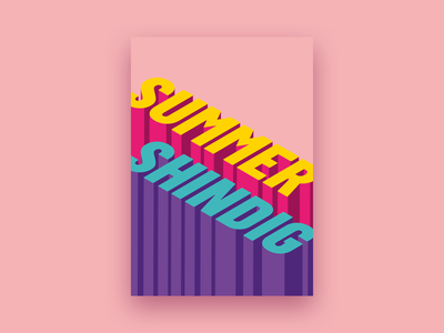 Summer Shindig graphic design design poster isometric pink colour type