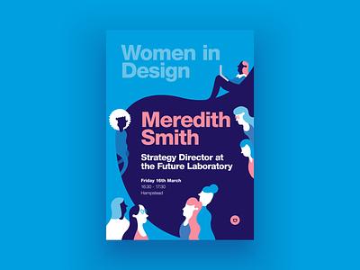 Women in Design pink illustrator character design illustration blue colour design graphic design poster