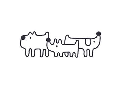 Doggos black and white illustrator dog vector line art logo scene poster graphic design design illustration character design