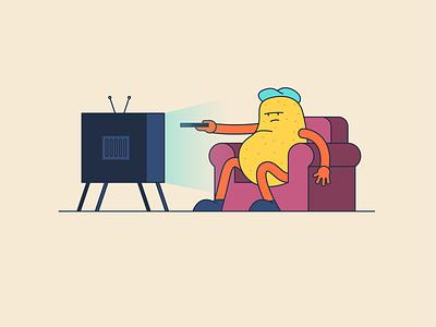 Coach potato 🥔 tv couch potato fun poster illustrator vector scene pink blue colour graphic design design illustration character design