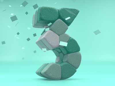 Number 3 (Tres) 36days-3 confetti 36daysoftype three render c4d 3d