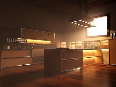 Kitchen Interior redshift maya render architecture 3d