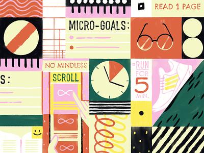 Unique Methods for Goal Setting resolutions habits procrastination goals task management todo project organization project management editorial todoist productivity illustration