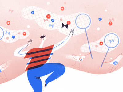Can Tech Companies Really Un-Distract Us? butterfly net distraction attention notifications editorial illustration