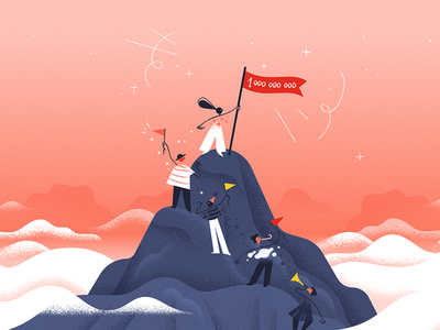 #1BillionTasks 🎉 clouds parade productivity climb mountain todoist celebration illustration