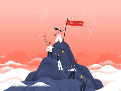 #1BillionTasks 🎉 clouds parade productivity climb mountain todoist celebration illustration