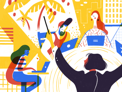 Managing a Remote Team remote project management team maestro twist todoist editorial character productivity illustration