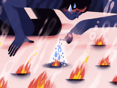 Putting out fires organization project management work stress water fire editorial illustration twist todoist doist productivity