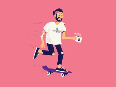 Bold Brain Coffee Zombie bold brain skateboarding skateboard procreate coffee zombie illustration