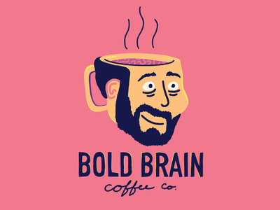 Bold Brain Coffee Logo procreate illustration coffee branding zombie coffee