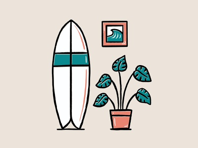 Monstera Surf monstera deliciosa monstera plants plant surfing surf design illustrator procreate illustration