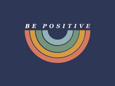 Be Positive positive rainbow typography vector design blue illustrator illustration