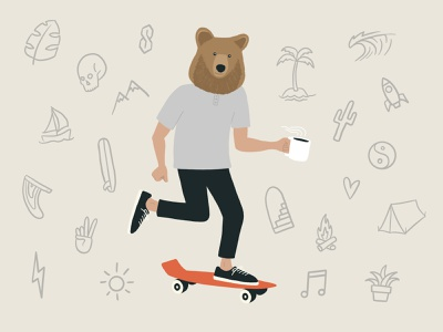 Coffee & Bearings branding procreate illustrator illustration