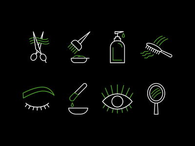 Salon Icons salon uidesign ui iconography black  white green black illustrator icon design icons set iconset icons