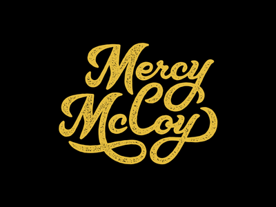 Mercy McCoy Logo gold black stamp lettering typography word mark logo